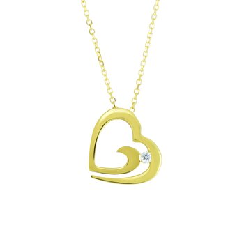 14K Gold .03ct Diamond Open Heart Necklace