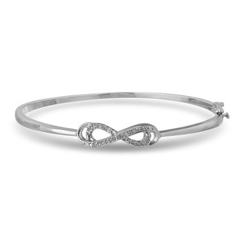 925 SS Diamond Infinity Design Bangle in Prong Setting