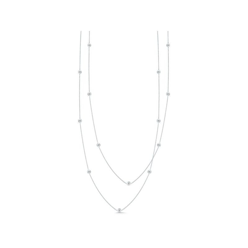 Roberto Coin Necklace With 15 Diamond Stations &Ndash; 18K White Gold