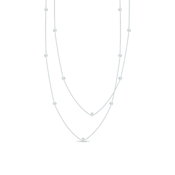 Necklace With 15 Diamond Stations &Ndash; 18K White Gold