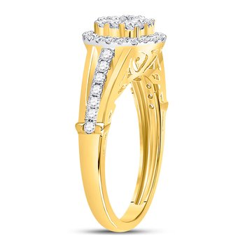 14kt Yellow Gold Womens Round Diamond Cluster Bridal Wedding Engagement Ring 3/4 Cttw