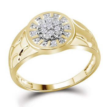 Yellow-tone Sterling Silver Mens Round Diamond Cluster Nugget Ring 1/8 Cttw
