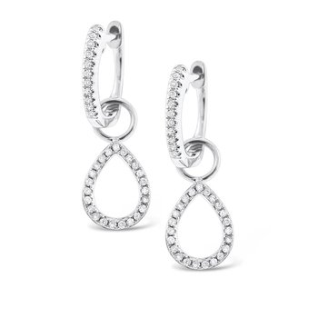 Diamond Mini Hoop with Pear Shape Drop Charm Earrings in 14K White Gold with 68 Diamonds Weighing  .20ct tw