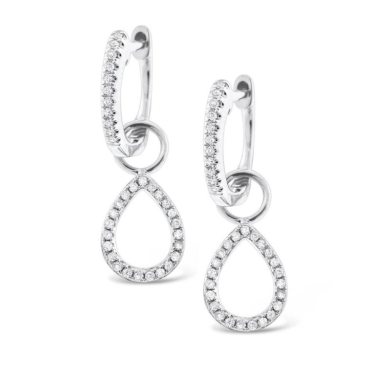 KC Designs Diamond Mini Hoop with Pear Shape Drop Charm Earrings in 14K White Gold with 68 Diamonds Weighing  .20ct tw
