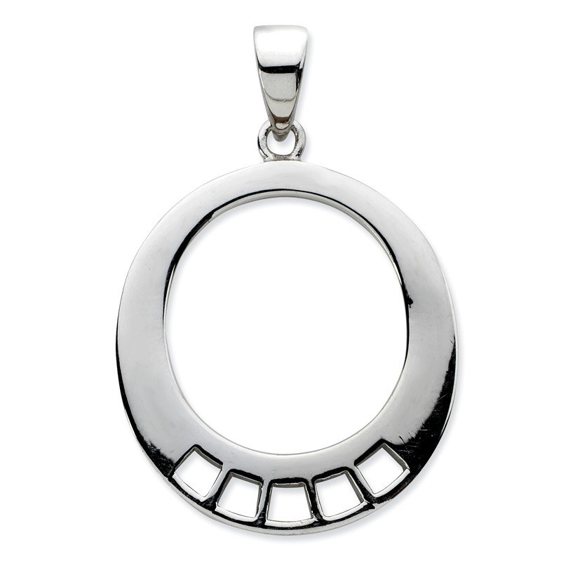 Quality Gold Sterling Silver Oval Shaped Charm Carrier Pendant