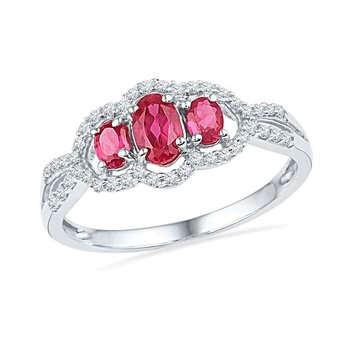 10kt White Gold Womens Oval Lab-Created Ruby 3-stone Diamond Frame Ring 7/8 Cttw