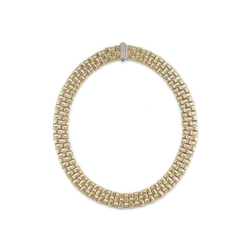 Roberto Coin 3 Row Necklace With Diamond Clasp