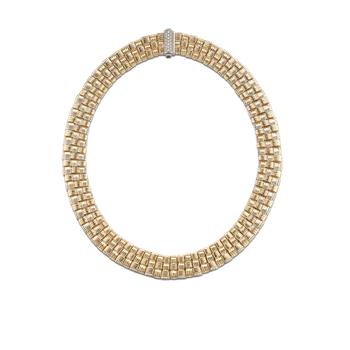 3 Row Necklace With Diamond Clasp