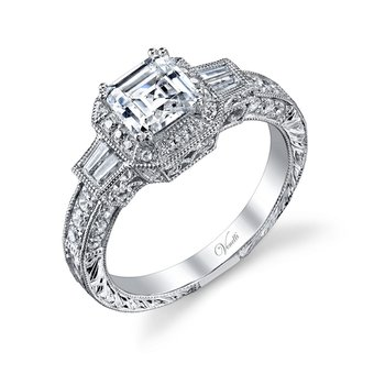 14K W RING 46RD 0.40CT 4BG 0.18CT