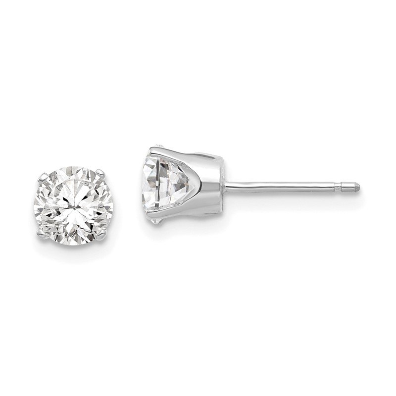 Quality Gold 14k White Gold 5.5mm CZ stud earrings