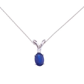14k White Gold Sapphire and Diamond Oval Pendant
