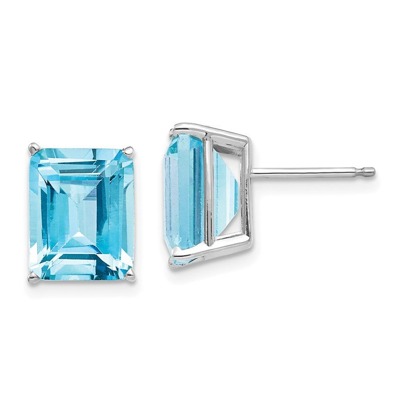Quality Gold 14k White Gold 10x8mm Emerald Cut Blue Topaz Earrings