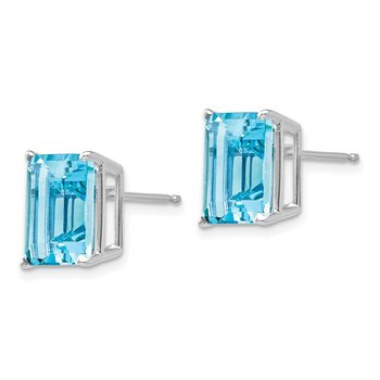 14k White Gold 10x8mm Emerald Cut Blue Topaz Earrings