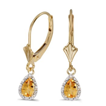 14k Yellow Gold Pear Citrine And Diamond Leverback Earrings