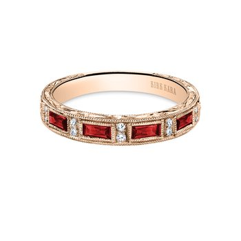 Ruby Colorful Diamond Engraved Wedding Band