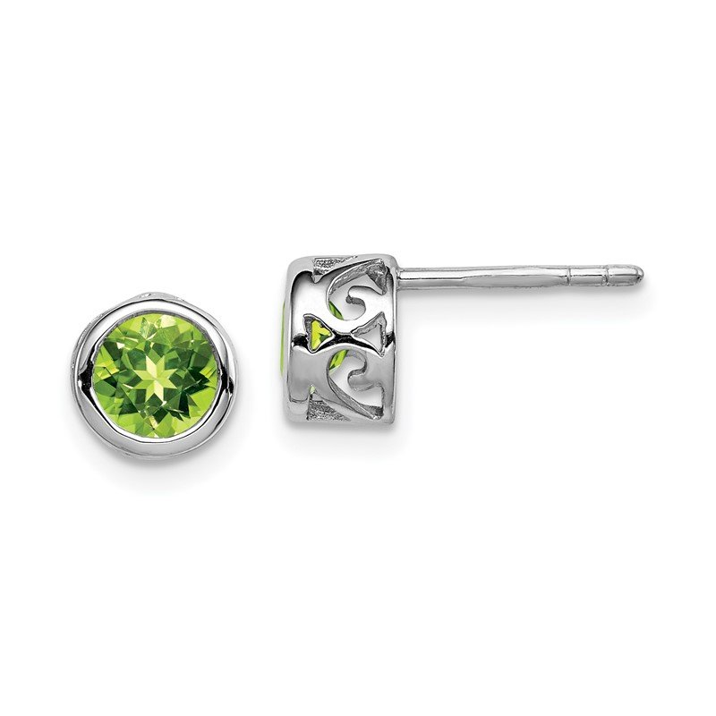 Quality Gold Sterling Silver Rhodium-plated Polished Peridot Round Post Earrings