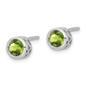 Sterling Silver Rhodium-plated Polished Peridot Round Post Earrings