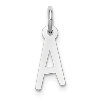 14k White Gold Small Slanted Block Letter A Initial Charm
