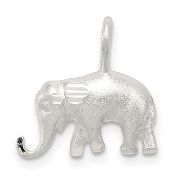 Sterling Silver Satin Diamond-cut Elephant Pendant