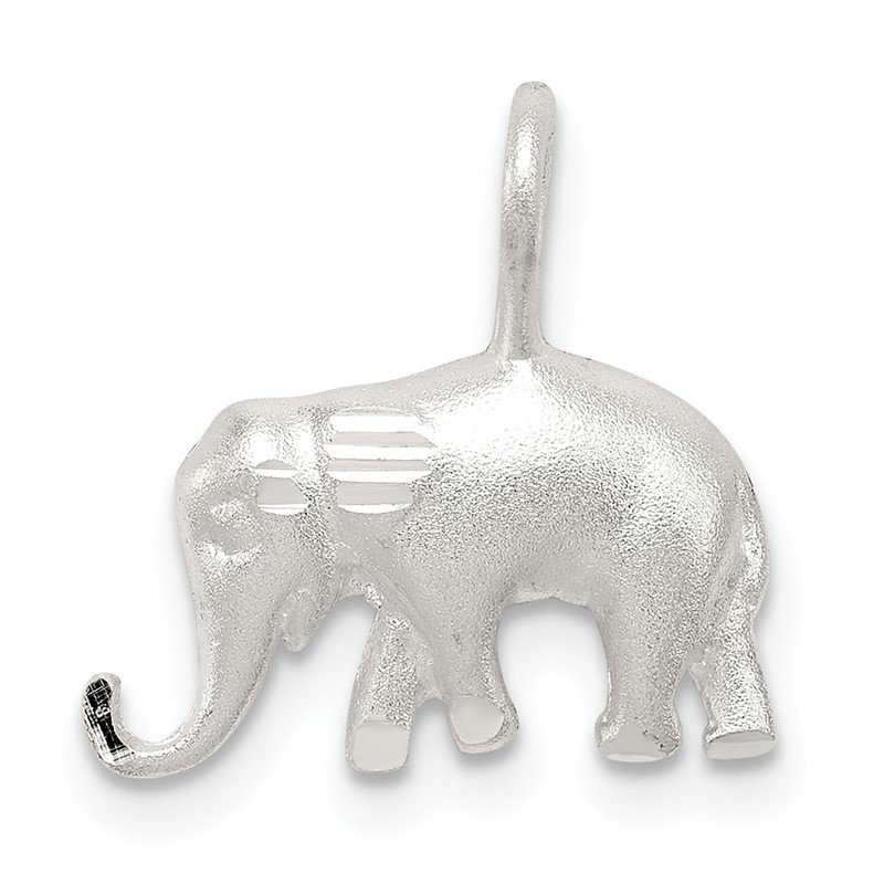 Quality Gold Sterling Silver Satin Diamond-cut Elephant Pendant