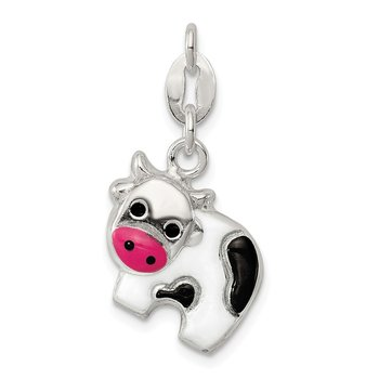 Sterling Silver Enameled Cow Charm