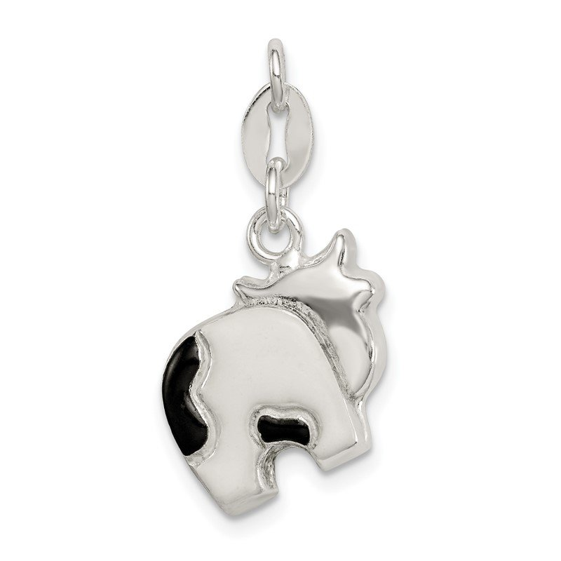 Quality Gold Sterling Silver Enameled Cow Charm