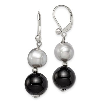 Sterling Silver 12mm Black Agate/10mm FWC Grey Pearl Earrings