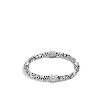 Classic Chain 5MM Bracelet in Silver with Diamonds