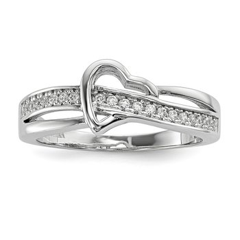 Sterling Silver Brilliant Embers Rhodium-plated CZ Heart Ring