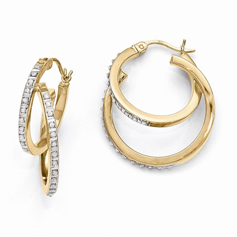 Quality Gold Sterling Silver Gold-Plated Diamond Mystique Double Hoop Earrings