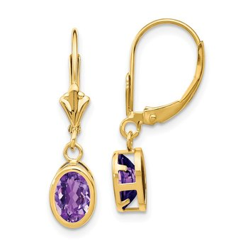 14k 7x5mm Oval Amethyst Leverback Earrings