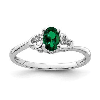 Sterling Silver Rhodium-plated Created Emerald Ring