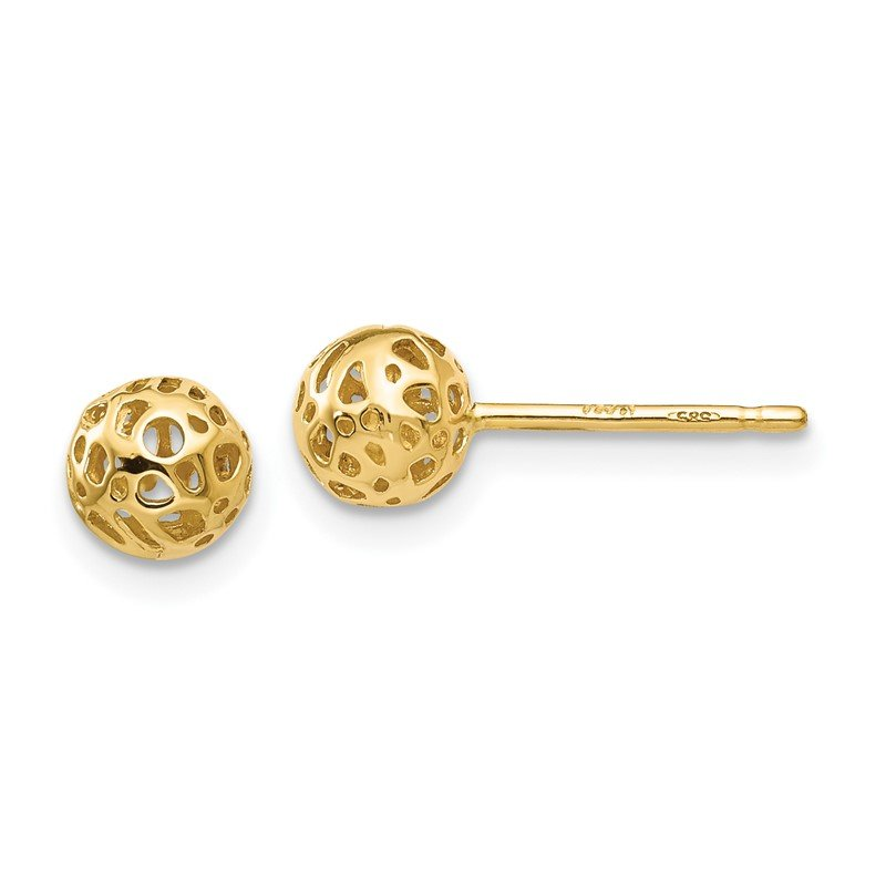 Quality Gold 14K Yellow Gold Small Fancy Ball Post Earrings