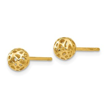 14K Yellow Gold Small Fancy Ball Post Earrings