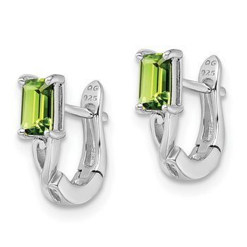 Sterling Silver Rhodium Plated Peridot Hinged Hoop Earrings