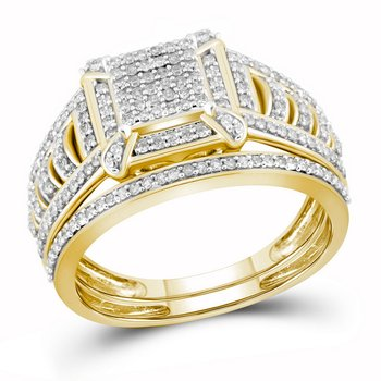 10kt Yellow Gold Womens Diamond Square Cluster Bridal Wedding Engagement Ring Band Set 1/2 Cttw
