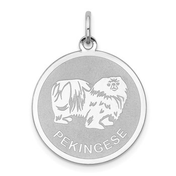 Sterling Silver Rhodium-plated Pekingese Disc Charm