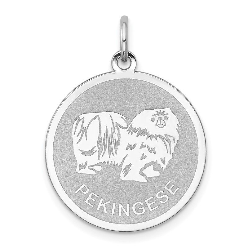 Quality Gold Sterling Silver Rhodium-plated Pekingese Disc Charm