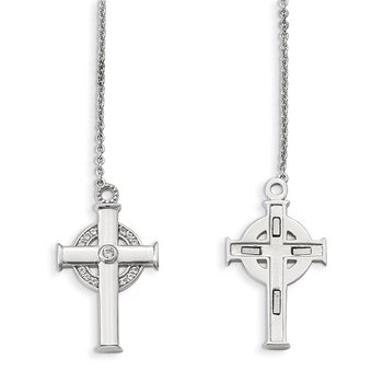 Sterling Silver Polished w/Sapphire Magnetic Cross w/Circle Adjust. Necklac