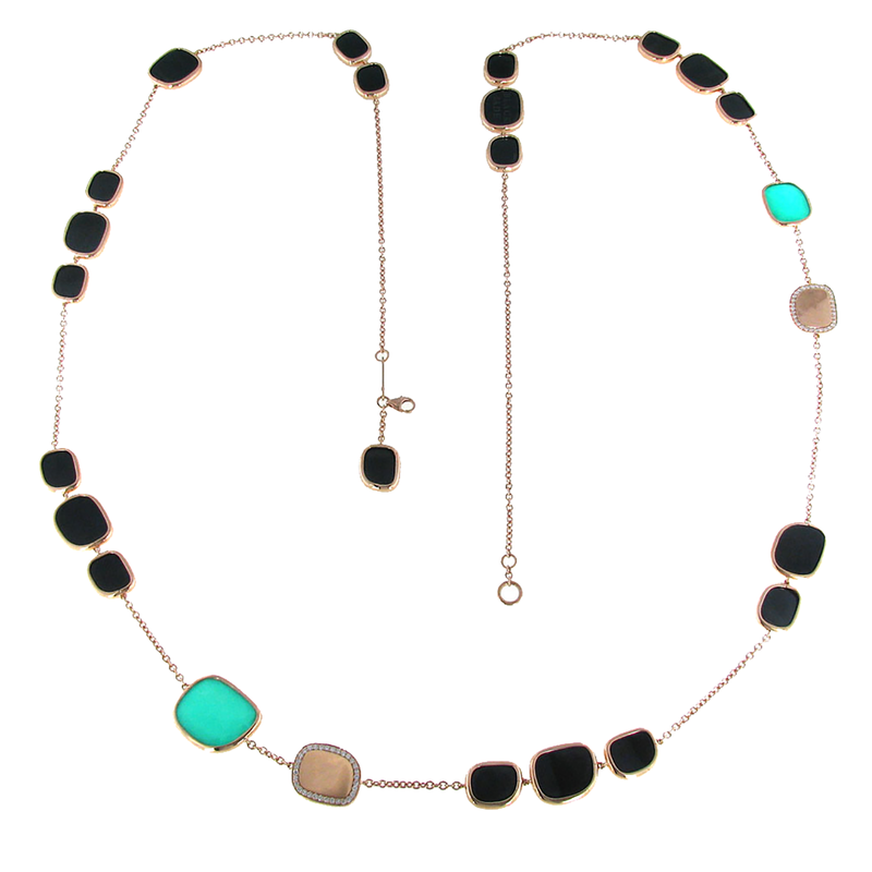 Roberto Coin 18Kt Gold Black Jade, Diamonds And Green Agate Station Necklace