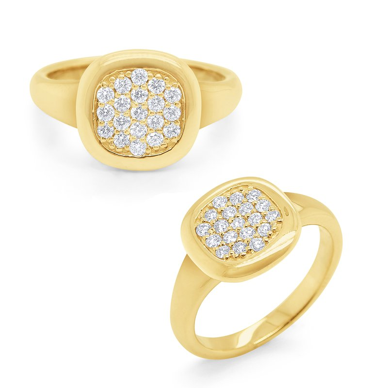 KC Designs 14k Gold and Pave Diamond Signet Ring