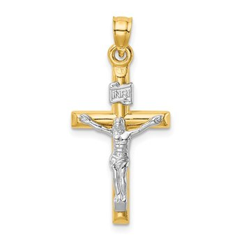 14k Two-tone Hollow Crucifix Pendant