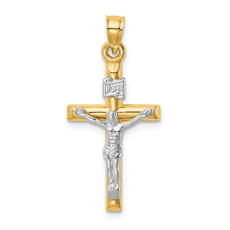 Quality Gold 14k Two-tone Hollow Crucifix Pendant