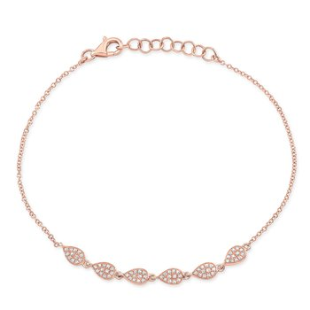 Rose Gold Dainty Pave Pear Shape Bracelet