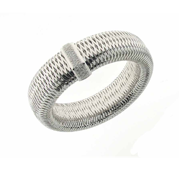 #25973 Of 18K White Gold Large Bangle With Diamonds