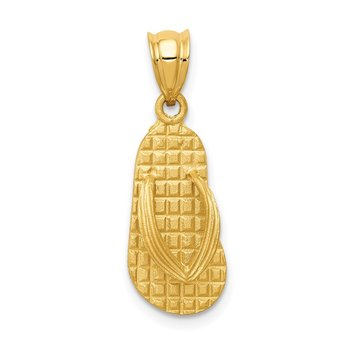 14k 3D Solid Polished Sandals Pendant