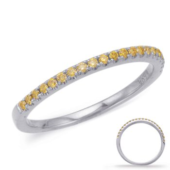 White Diamond Wedding Band  Yellow Gold