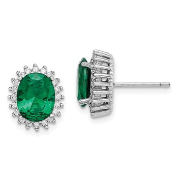 Sterling Silver Rhodium-plated Green/White CZ Oval Cut Post Earrings