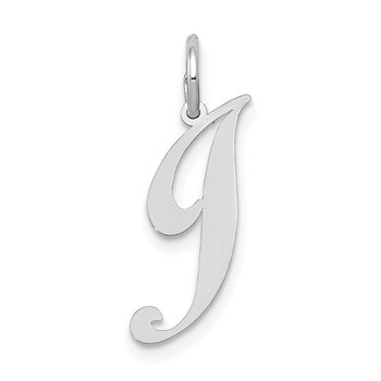 14k White Gold Small Fancy Script Letter J Initial Charm