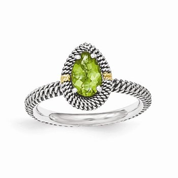 Sterling Silver w/14ky Peridot Pear Shaped Ring